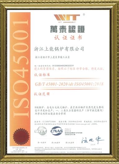 ISO45001职业健康管理体系中文证书